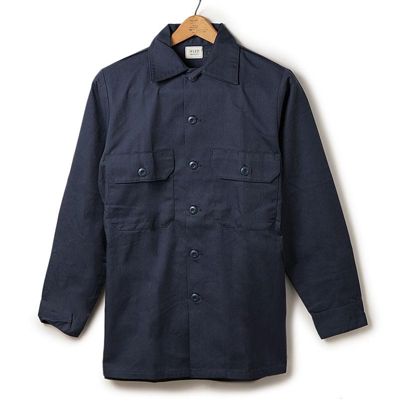 ミリタリー調 紺一色 ネイビー統一 ネイビーシャツ USミリタリーシャツ